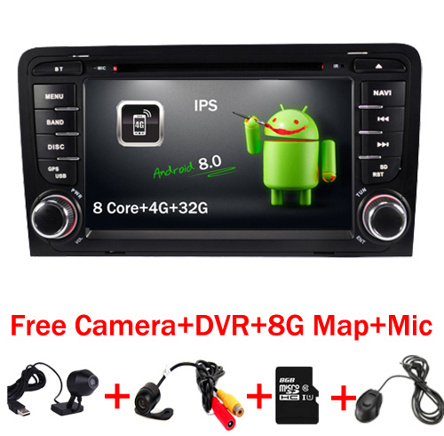 7 Inch 2 Din Touch Screen Car Video DVD Player Android 8.0 WIFi 4G GPS Map Audio 8 Core In-dash Mic for Audi A3 S3 RS3 Radio