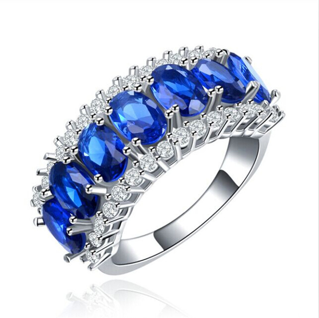 QCOOLJLY Amazing Silver Color Blue Brilliant CZ Zircon Fresh Ring Size 7 8 For B