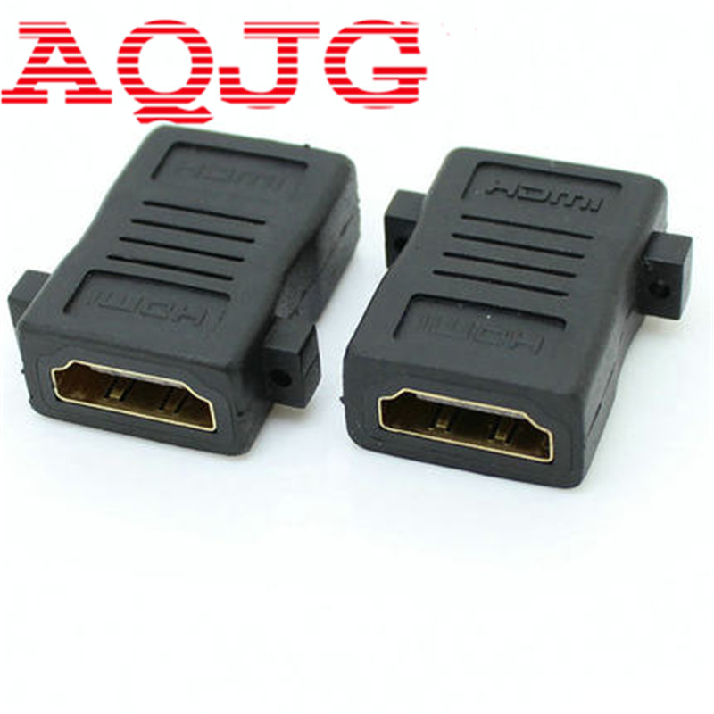 10pcs HDMI Female to Female F/F Screw Lock Panel Mount Adapter Connector Extender 1080P 1pcs esata to sata 7p female to fermale f f converter adapter connector extender