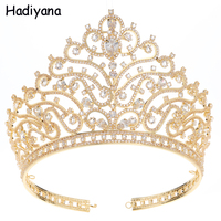 Hadiyana Fashion Cubic Zirconia Queen Crown For Women girl Bridal Sliver/gold big Tiara Wedding Hair Accessories HG6088