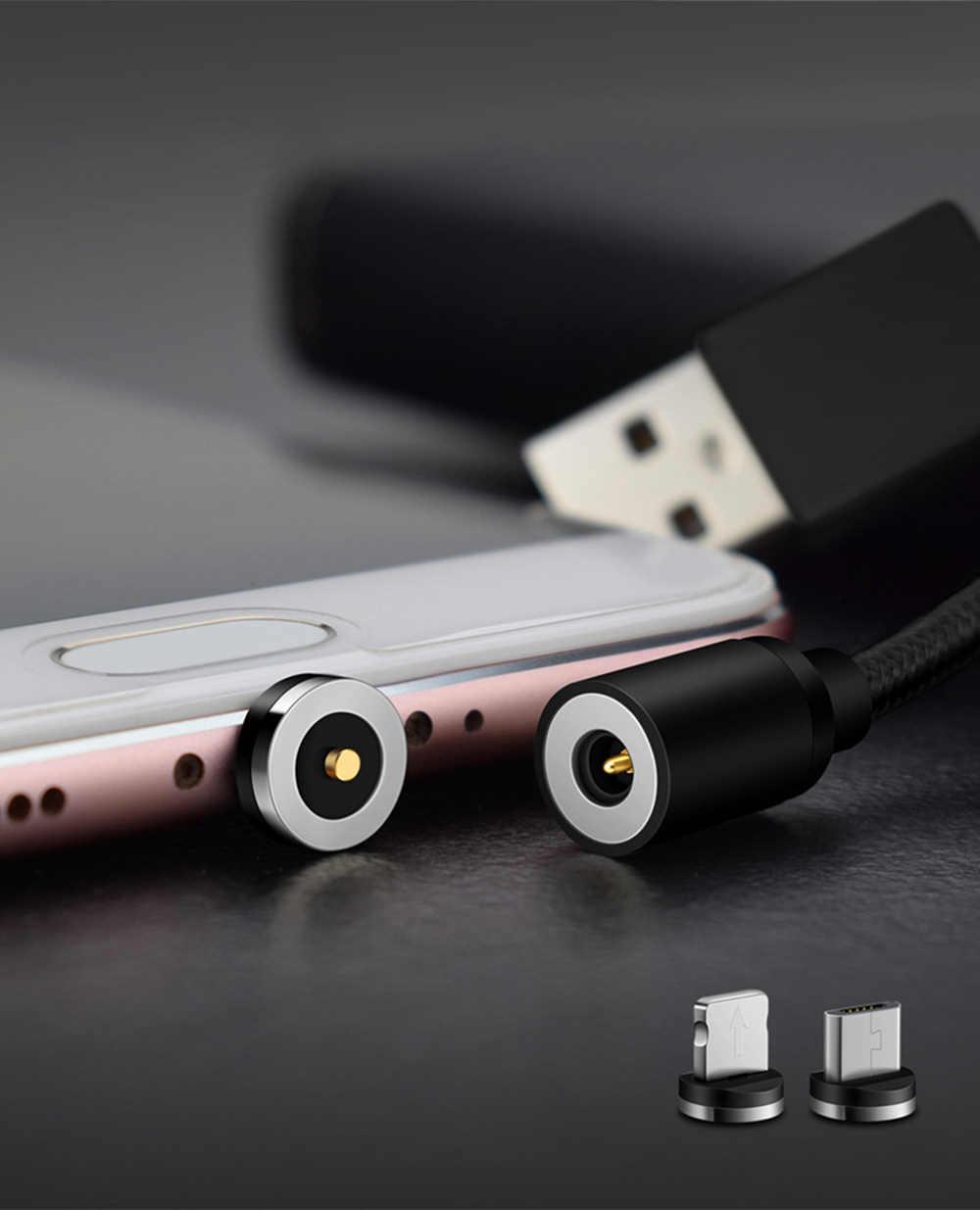 1 M USB Kabel untuk iPhone 7 Kabel Micro USB Magnetic Charger untuk Samsung S9 Xiaomi Ponsel Magnet usb Mikro Cabo