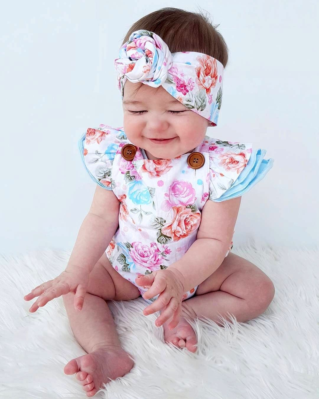 f64def2954b9 2pcs Set Summer Adorable Rompers Baby Girls Floral Romper One pieces  Clothes Sunsuit Set-in Rompers from Mother   Kids on Aliexpress.com