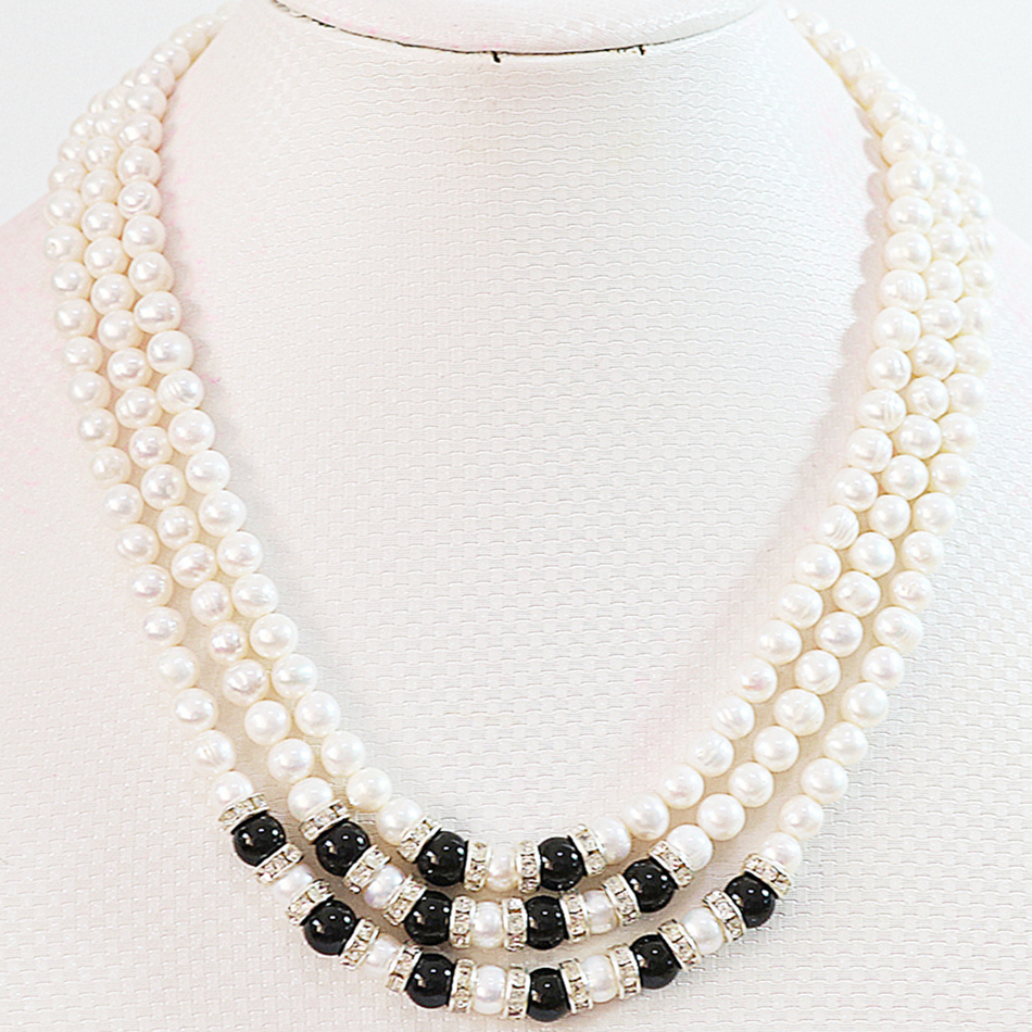 Natural white freshwater cultured pearl 7-8mm round beads 3 row high grade fashion women long chian necklace jewelry 17