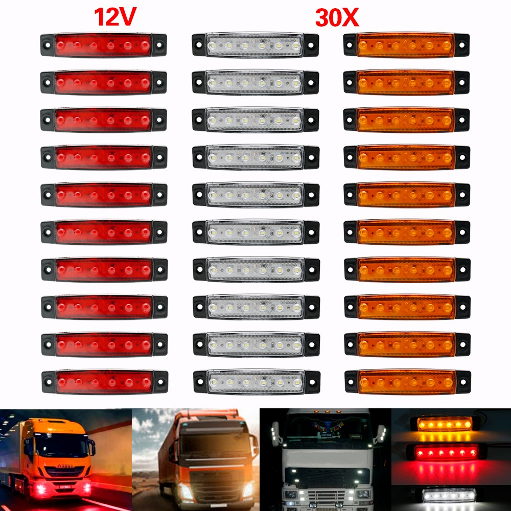Automobiles & Motorcycles 2pcs Set White 12v Led Car Side Marker Tail Light 24v Trailer Truck Lamp 100% Brand New And High Quality Durable Plastic Truck Parts