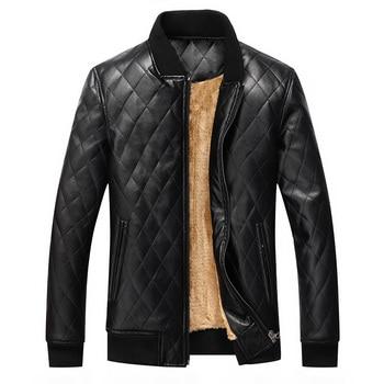 Winter Leather Bomber Jacket Mens Fashion Wash Men's Pu Leather Coat Fleece Jackets Man Black Faux Coats Men S-XXL