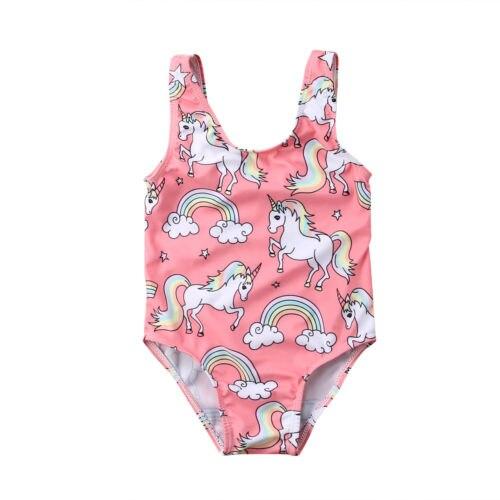 2019 New Cute Newborn Baby Girl Swimsuit Kids Cartoon Unicorn Swimwear Children Swimming Bikini Beachwear Bath Suit