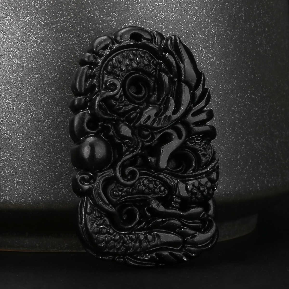 1pc ธรรมชาติที่สวยงามแกะสลักมังกรสีดำสีเขียวจี้มังกรโชคดีสร้อยคอจี้ Amulet ของขวัญ