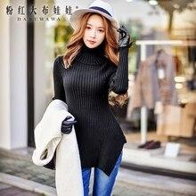 dabuwawa turtleneck sweater female 2016 women's irregular slim long sleeved long knit sweaters women pink doll