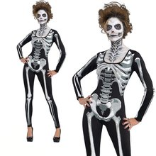 Halloween Skeleton Print Scary Horror Costume Play suit NEW Lange Ghost Clothes Strech Black Party Cosplay Jumpsuit Bodysuit F2(China)