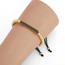 3Pc/Lot Micro Pave Black CZ Zirconia Gold King Crown & Bar Charm Bracelet Sets Men Stone Bead Bracelet Valentine Women Jewelry