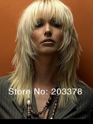 New Arrivals Long Blonde wig  Sexy Women Cut Hair Styles For Arican American Lady Woman free shipping