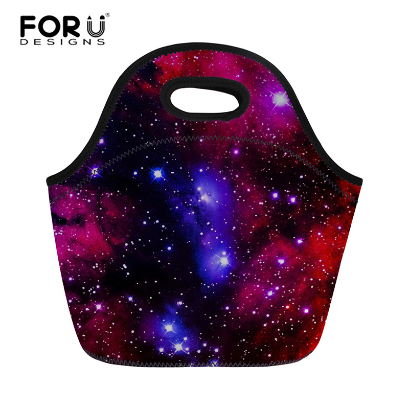 FORUDESIGNS Galaxy 3D Print Lunch Box Thermal Insulated Picnic Food Handbag Casual Meal Lunch Bags Small Storage Bags for Kid