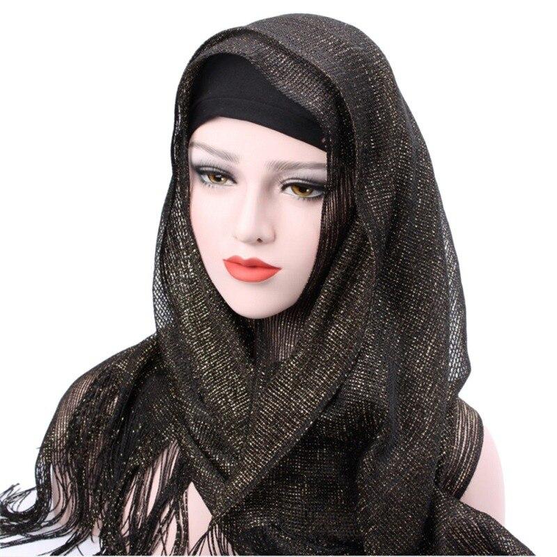 1 Pc Vrouwen Hoofd Accessoires Verstelbare Sjaal Hijaabs Chiffon Solid Met Kwastje Motorkap Cap Bone Islamitische Lady Head Cover Hijaabs