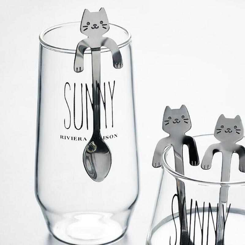 9e2f3bbf13d1 Outdoor Camping Tableware Spoon Cute Cartoon Cat Coffee Tea Soup Sugar  Dessert Spoon Hanging Cup 304 Stainless Steel Kamp Spoon