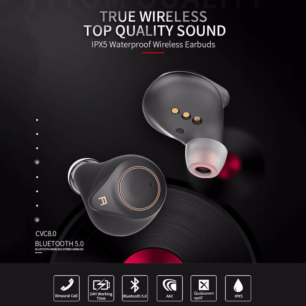 Headphones-Earphones Wearable-Devices APTX True Bluetooth 5.0 Wireless For TWS HD