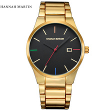 Hannah Martin Luxury Brand Quartz Watch Men Gold Analog Display Date Men's Wristwatch Casual Business relogio masculino 2017 curren luxury brand nylon strap analog display date men s quartz watch casual watch men sport wristwatch relogio masculino w8195
