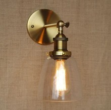 60W Brass Vintage Industrial Lamp Wall Lights For Home In Loft Style Arandela Edison Wall Sconce vintage loft style industrial vintage wall light fixtures home clocks watches water pipe lamp edison wall sconce indoor lighting