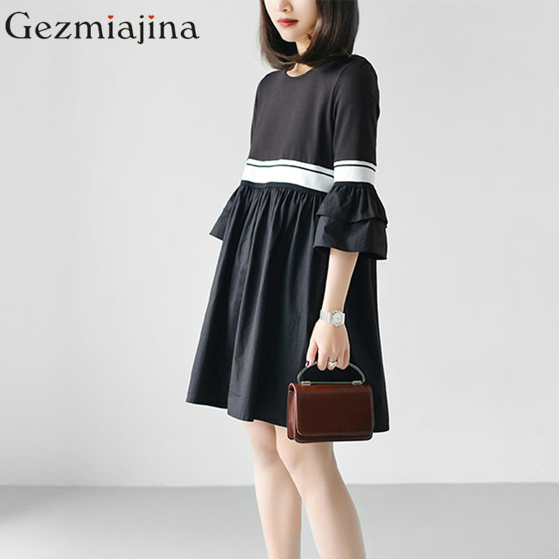 2017 spring summer pregnancy wear maternity dress New fashion lotus sleeves Solid color dress Large size Одежда