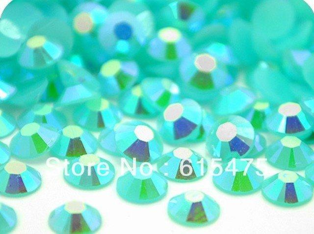 3mm Geléia AQUAMARINE AB Cor SS10 strass Resina cristal flatback, Nail Art Pedrinhas, 100,000 pçs/saco