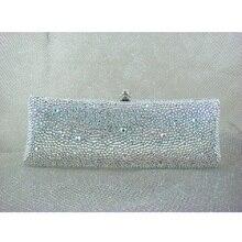 7757ab WhiteAB Crystal Lady fashion Bridal Party Night Metal Evening purse clutch bag case box handbag