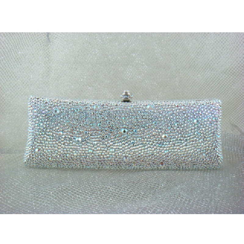 ФОТО 7757ab WhiteAB Crystal Lady fashion Bridal Party Night Metal Evening purse clutch bag case box handbag