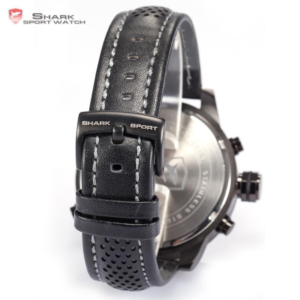 Requiem requin Sport montre 6 mains calendrier double fuseau horaire noir tableau de bord bande en cuir 3ATM étanche hommes horloge militaire/SH210 - 5
