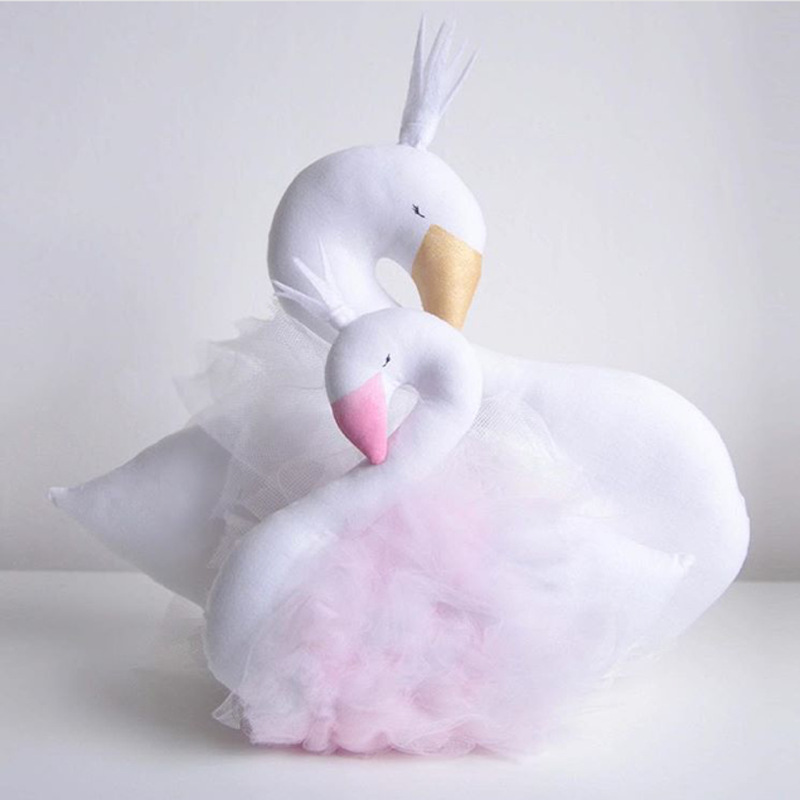 Stuffed Plush Animals Swan Crown Yarn Skirt Soft Pillow Baby Accompany Sleep Kids Toys for Children Girls Birthday Gift Doll 13 inch kawaii plush soft stuffed animals baby kids toys for girls children birthday christmas gift angela rabbit metoo doll