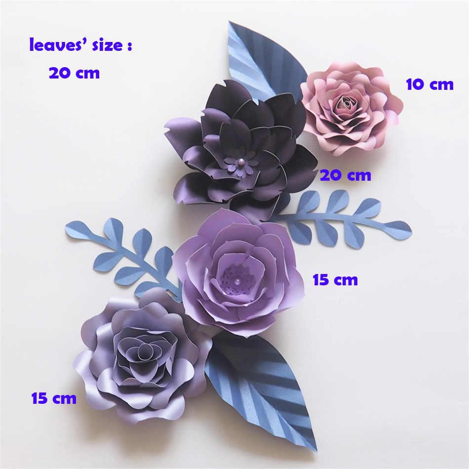 Diy Giant Paper Flowers Backdrop Artificial Handmade Purple Blue Flower 4pcs 4 Leaves Wedding Party Deco Home Decoration
