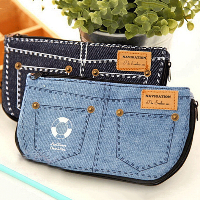 Blue Women's Makeup Bag Denim Canvas Purse Phone Bag For Travel Ladies Pouch Women Cosmetic Bag Pencil Case