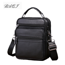 BAQI Brand Men Handbags Genuine Leather Soft Cow Leather Man Shoulder Messenger Bag 2019 New Fashion High Quality Ipad Phone Bag