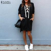 Plus Size 2018 ZANZEA Autumn Women Long Sleeve Irregular Hem Long Sweatshirt Mini Dress Robe Female