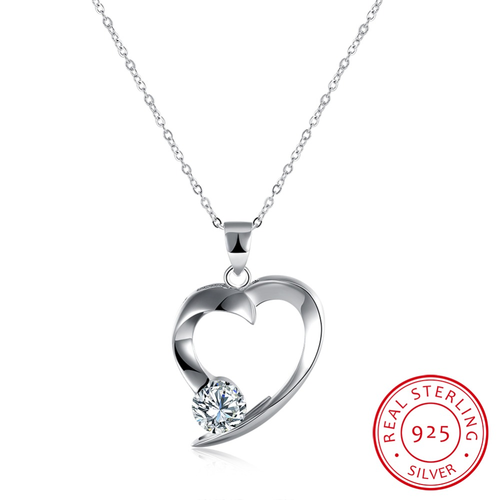 100 925 Sterling Silver Heart Pendant Necklace With Zircon Fashion Jewelry For Women Simple Charm Style