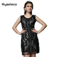 Women Embroidered Sequin Phoenix Gatsby Dress Tank Party Dresses Elegant Vintage Sequined Beading Short Mini Vestidos Black