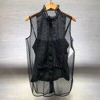 Dressnow women blouse office summer 2018 sleeveless blouse fashion lace transparent blouse