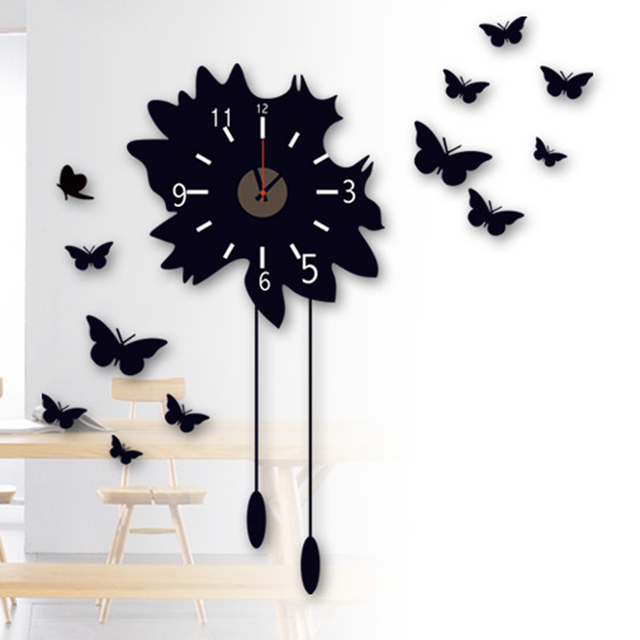 Free Shipping Large Decorative Wall Clock Sticker Home Decoration Art Black Erfly Decals Wallpaper
