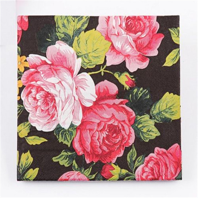 Wedding birthday party rose floral paper napkins 33x33cm 1 pack 20 wedding birthday party rose floral paper napkins 33x33cm 1 pack 20 pc mightylinksfo