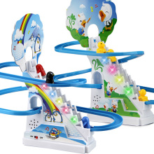AOSST Милая свинья ползающая лестница детские игрушки головоломка Пингвин слайд электрические вагоны с музыкой большой размер игрушки для детей