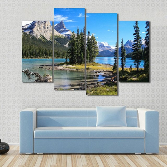 4 pieces sets canvas art maligne lake at the jasper national park in canada hd