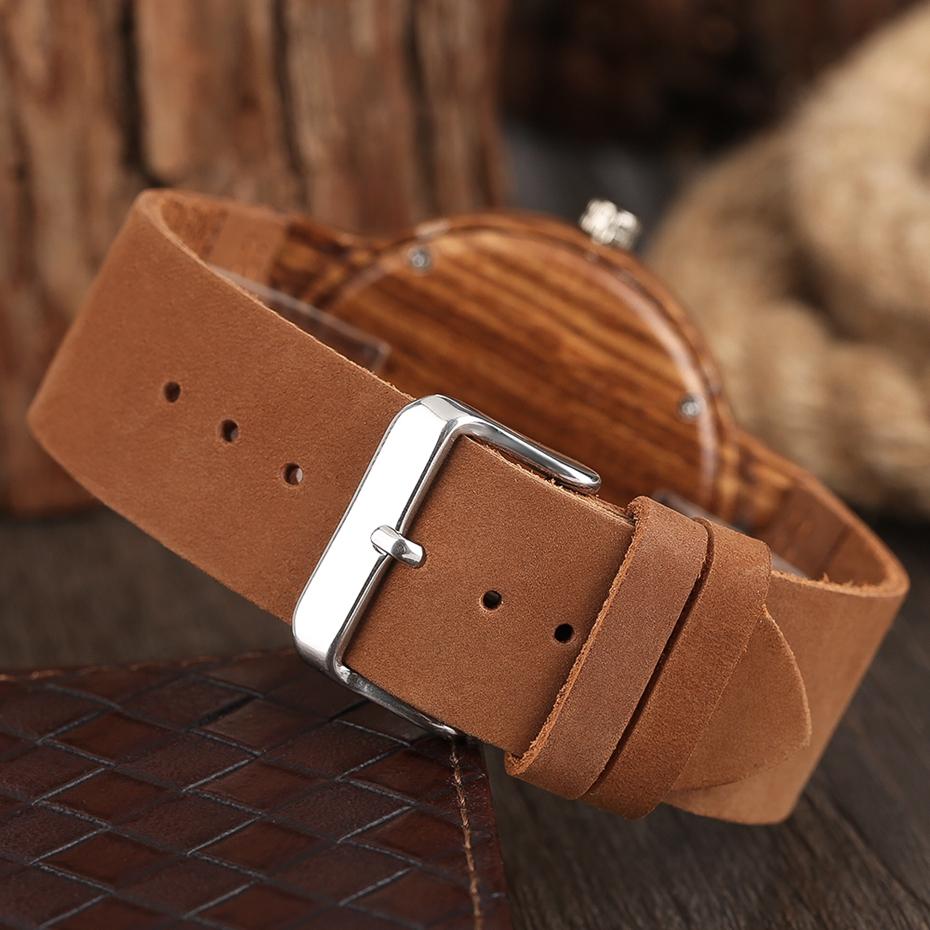 Unique Stripes Lines Dial Wooden Watch Mens Bamboo Creative Quartz Clock Genuine Leather Bangle Reloj de madera 2017 New Fashion  (45)
