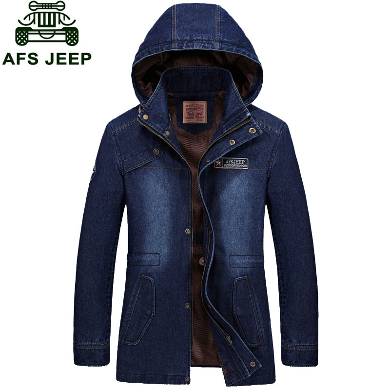 2017 New Arrival Brand Clothing Men Denim Jacket M~3XL Overcoat Slim Fit Casual Jacket Coats CLOTHES Long Sleeve Hooded Fashion