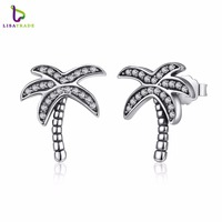 New Original 925 Sterling Silver Sparkling Clear CZ Palm Tree Stud Earrings For Women Jewelry PAS433