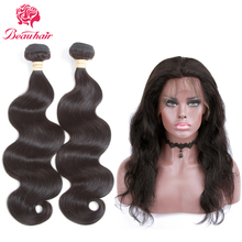 Beau Hair Malaysia Body Wave Human Hair 2 Bundle With 360 Lace Frontal Deal Non Remy 3 PCS One Pack Malaysia Hair Weaving Bundle