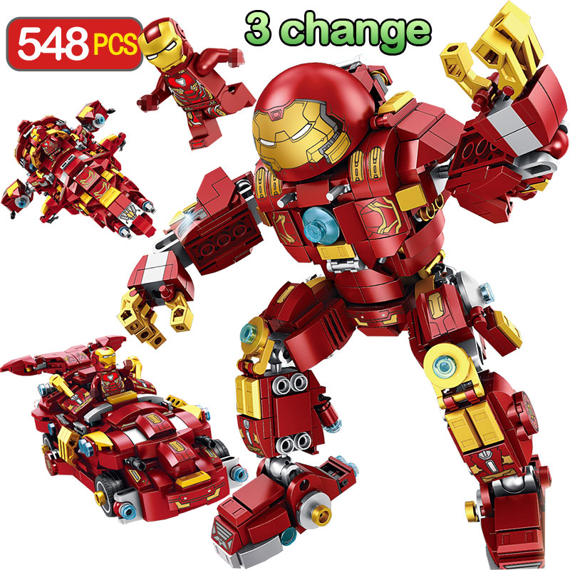 3 Change Marvel Super Hero Blocks LegoINGLYS Technic Anti Hulik Armor Edition Modle Mini Action Figures Bricks Toys For boys цена