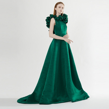 Gorgeous 2016 Hunter Color Evening Dresses With Flower Hanadmade Sexy Backless Long Evenig Gowns Women Formal Party Dress