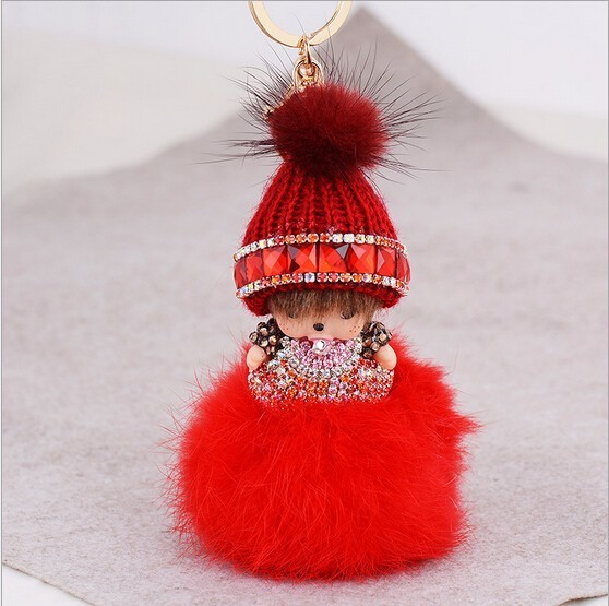 Austria zircon Monchhichi gold metal keychain creative Monchichi car keyring purse messenger bag backpack key chain pendant gift