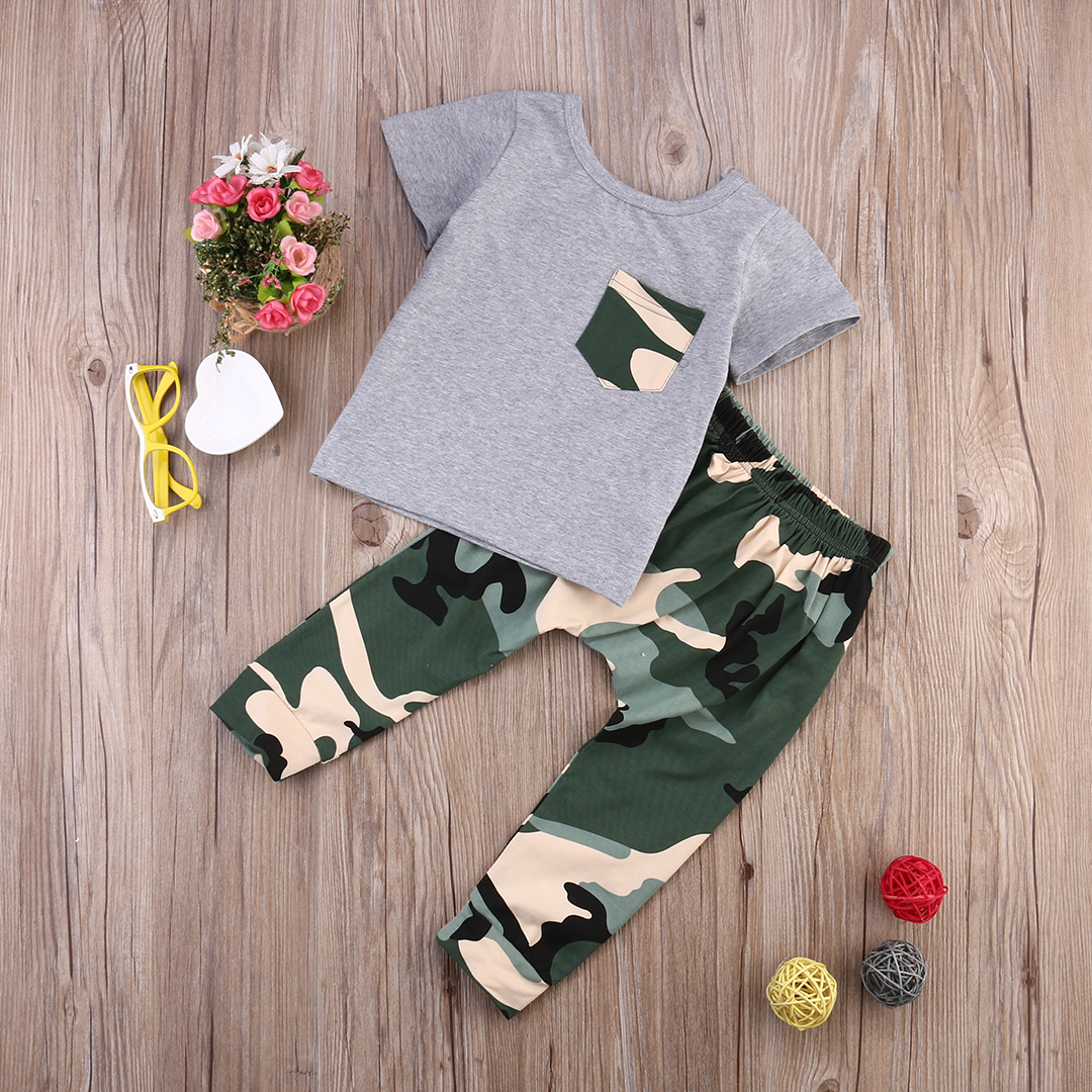 Newborn Baby Kids Boys Outfits Clothes Babies Summer Short Sleeve Tshirt Tops+Camouflage ...