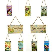 ZMHEGW Wooden Easter Hanging Board Festival Wall Door Decor Sign Hanger bunny easter eggs Easter Decorations For Home