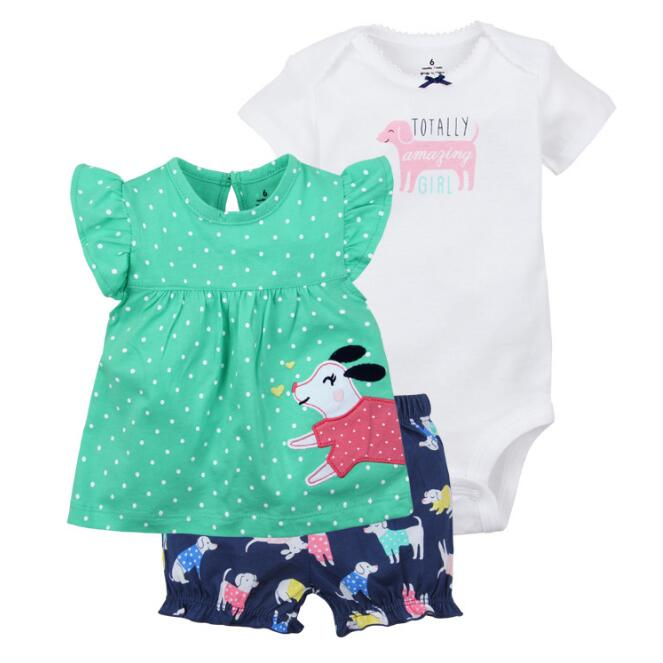 Summer 2019 Baby Girl Clothing 100% Cotton Clothes For Baby ,  Bodysuit + Shorts + T-shirt 3 Pcs Infant Clothing Suit