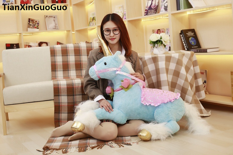 large 85cm lovely prone unicorn plush toy blue unicorn soft doll throw pillow toy birthday gift s0824 купить