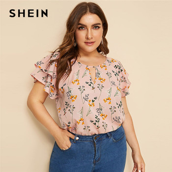SHEIN Plus Size Choker Neck Layered Ruffle Sleeve Botanical Top Blouse 2019 Women Summer Casual Floral Print Cut Out Blouses